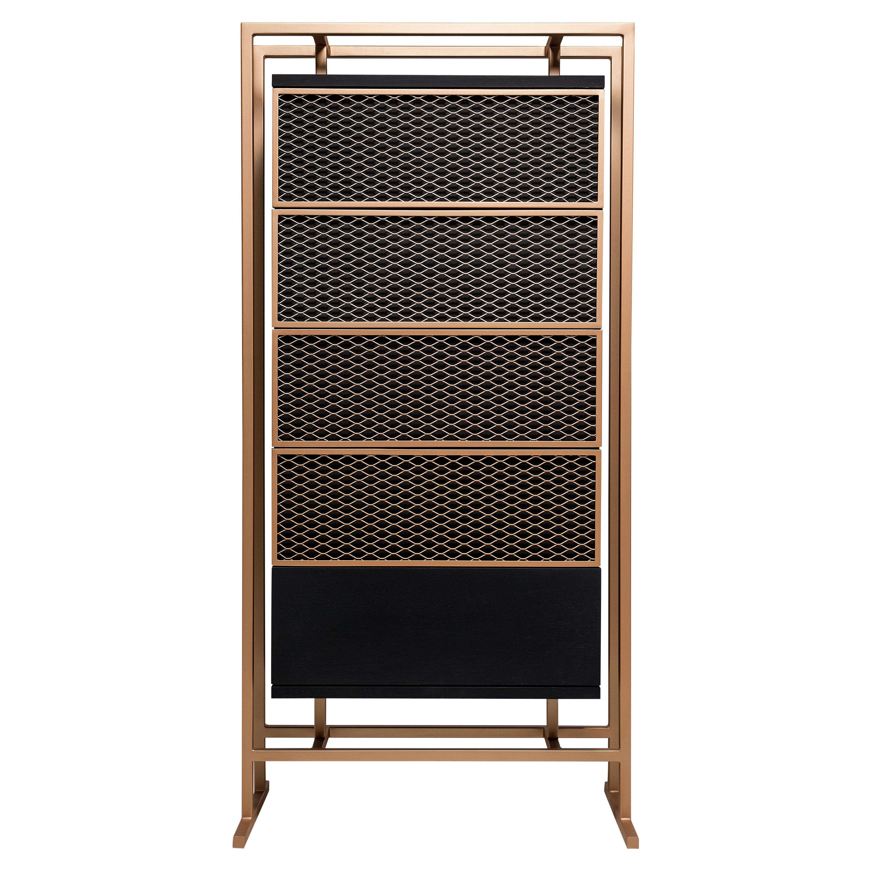 Contemporary Chest of Drawers in Metal and Black Oak