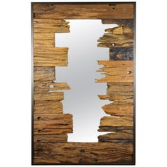 "Modern Driftwood Wall Mirror ""Broken Ship"" with Metal Frame"