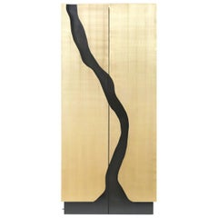 Modern Drinks Cabinet in Brass Finish for Bottle Storage with Wine Cooler
