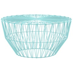 Modern Drum Table and Ottoman in Aqua by Bend Goods