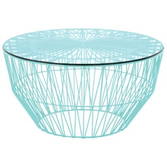 Modern Drum Table and Ottoman in Aqua with Glass Top by Bend Goods