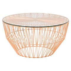 Modern Drum Table and Ottoman in Copper with Glass Top by Bend Goods