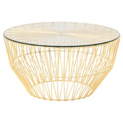 Modern Drum Table and Ottoman in Gold with Glass Top by Bend Goods