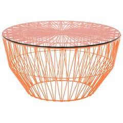 Modern Drum Table and Ottoman in Orange with Glass Top by Bend Goods