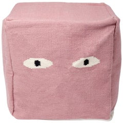 Modern Dusty Pink Ottoman Pouf Eyes