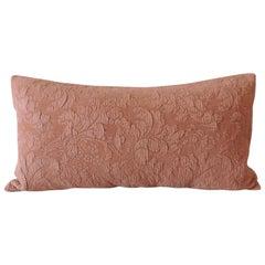 Modern Dusty Pink Tone-on-Tone Matelassé Long Bolster Decorative Pillow