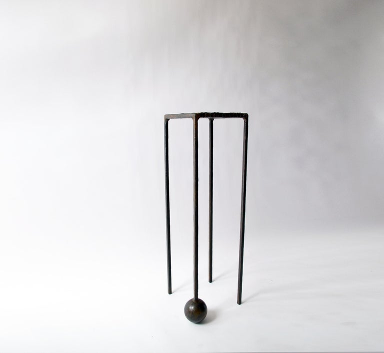 American Modern Dynamic Geometric Handcrafted Blackened and Waxed Steel Pedestal Table For Sale