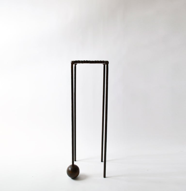 Cast Modern Dynamic Geometric Handcrafted Blackened and Waxed Steel Pedestal Table For Sale