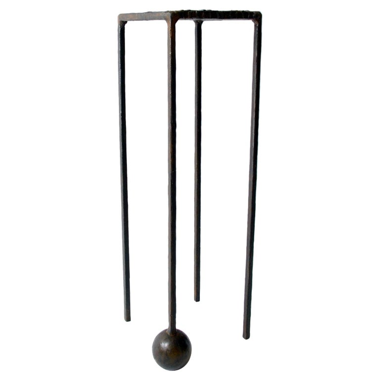 Modern Dynamic Geometric Handcrafted Blackened and Waxed Steel Pedestal Table For Sale