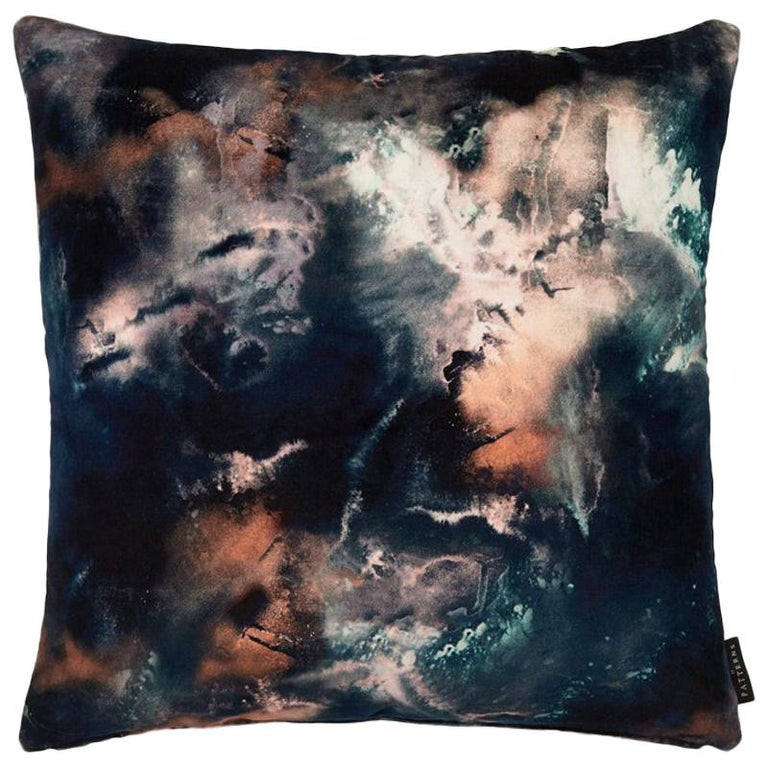 Modern Earth Blue Cotton Velvet Cushion by 17 Patterns For Sale