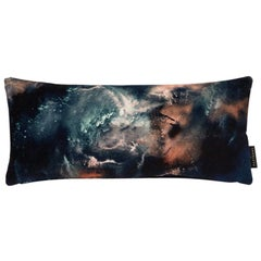 Modern Earth Blue Velvet Lumbar Cushion by 17 Patterns
