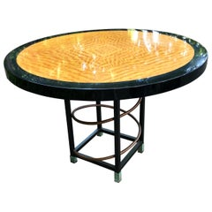 Modern Ebonized and Laquered Two-Tone Round Dining Breakfast Table