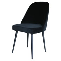 Modern Ebony Black Velvet Fabric Chair with Decorative Back and Steel Black Base