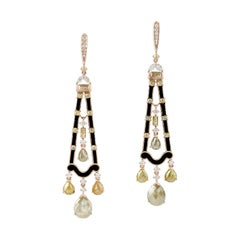 Modern Eclectic Looking White and Brown Diamond and Enamel Earrings in 18K Gold