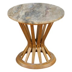 Modern Edward Wormley for Dunbar Round Marble Top Sheaf of Wheat Side Table