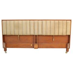 Modern Edward Wormley for Dunbar Tilting Drop Arm King Sized Walnut Headboard