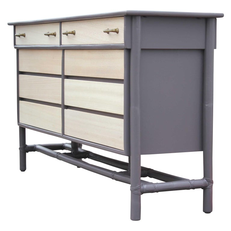 American Modern Eight-Drawer Grey and Natural Dresser with Brass Handles by McGuire For Sale