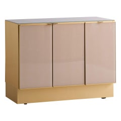 Modern Ello Brushed Brass Glass Top Credenza Cabinet