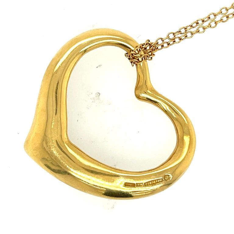 Modern Elsa Peretti Tiffany & Co. Open Heart Diamond Pendant Necklace In Good Condition In New York, NY