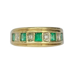 Modern Emerald and Diamond 9 Carat Gold Half Eternity Band