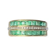 Modern Emerald and Diamond 9 Carat Gold Half Eternity Band