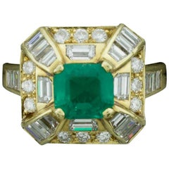 Modern Emerald and Diamond Ring by Terrell and Zimmelman in 18 Karat