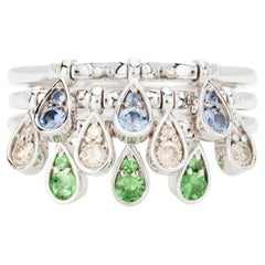 Modern Emerald Blue Sapphire and Diamond Kinetic Teardrop Cocktail Ring