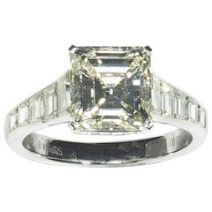 Modern Emerald-Cut Diamond and Platinum Ring, 3.02 Carat