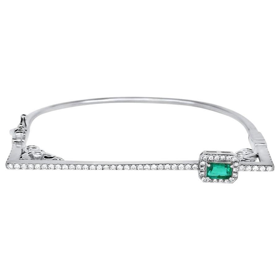 Modern Emerald Cut Emerald White Diamond Pave Square Bangle Bracelet 14K Gold