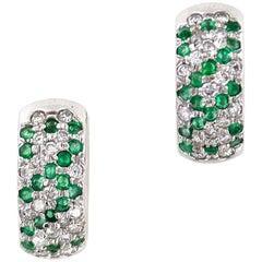Modern Emerald Diamond Huggie White Gold Earrings