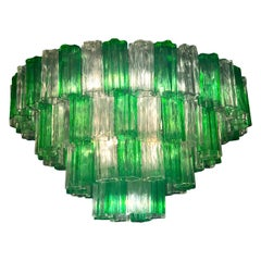 Modern Emerald Green and Ice Color Murano Glass Chandelier or Flush Mount