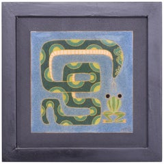 Modern Enamel Wall Art Whimsical Frog and Snake Cool Blue and Green 1980s