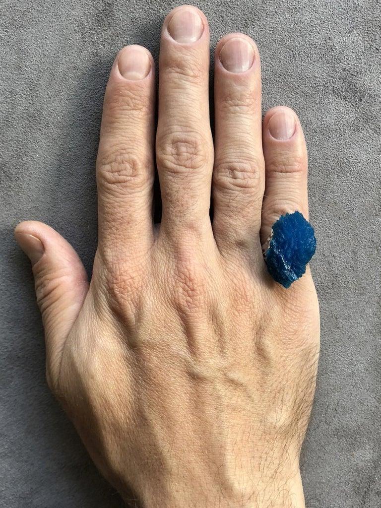 Modern Engagement Ring Cavansite 14 Karat White Gold Statement Blue Crystal Mens For Sale 1