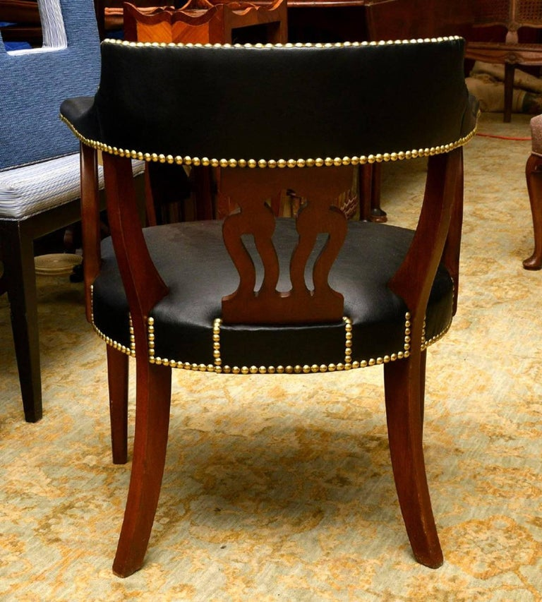 Modern English Mahogany and Leather Captains Chair For Sale 2