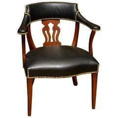 Modern English Mahogany and Leather Captains Chair