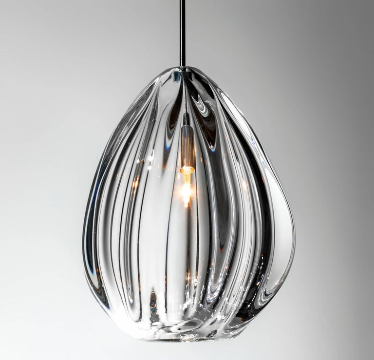 American Modern Entry Chandelier, Handblown Glass by Siemon & Salazar - Made to Order For Sale