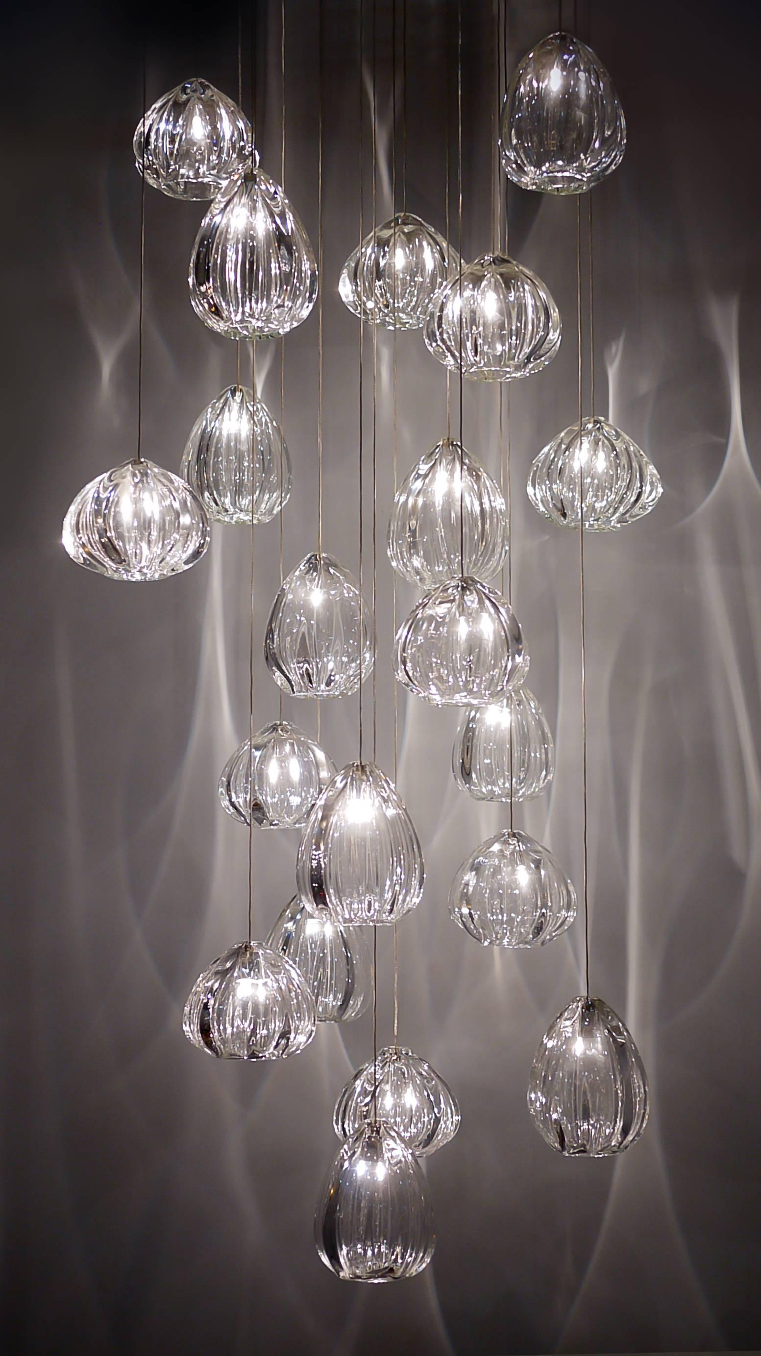 Modern Foyer Chandelier Hand Blown Glass By Siemon And Salazar Made To Order For Sale At 1stdibs