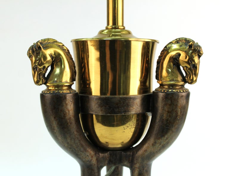 Modern Equestrian Themed Table Lamps with Horse Heads In Good Condition For Sale In New York, NY