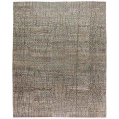 Modern Eskayel Akimbo Gray and White Handwoven Wool Rug