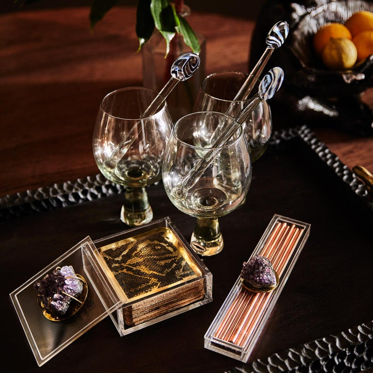 Modern Etched Brass Coaster Bar Set Presented in an Agate Decorated Lucite Box For Sale 6