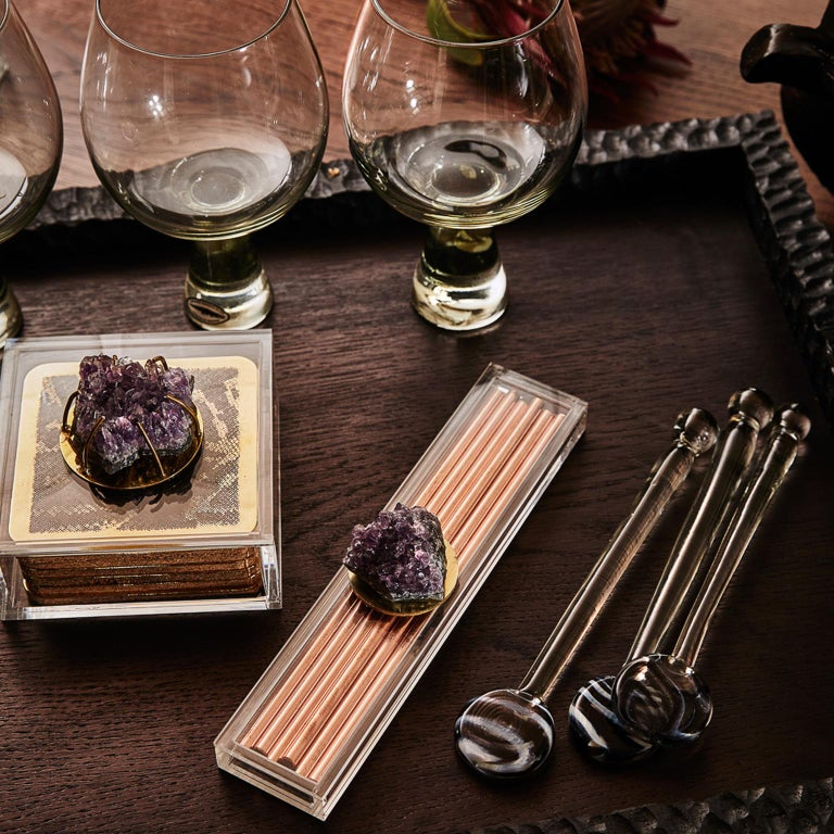 Modern Etched Brass Coaster Bar Set Presented in an Agate Decorated Lucite Box For Sale 7