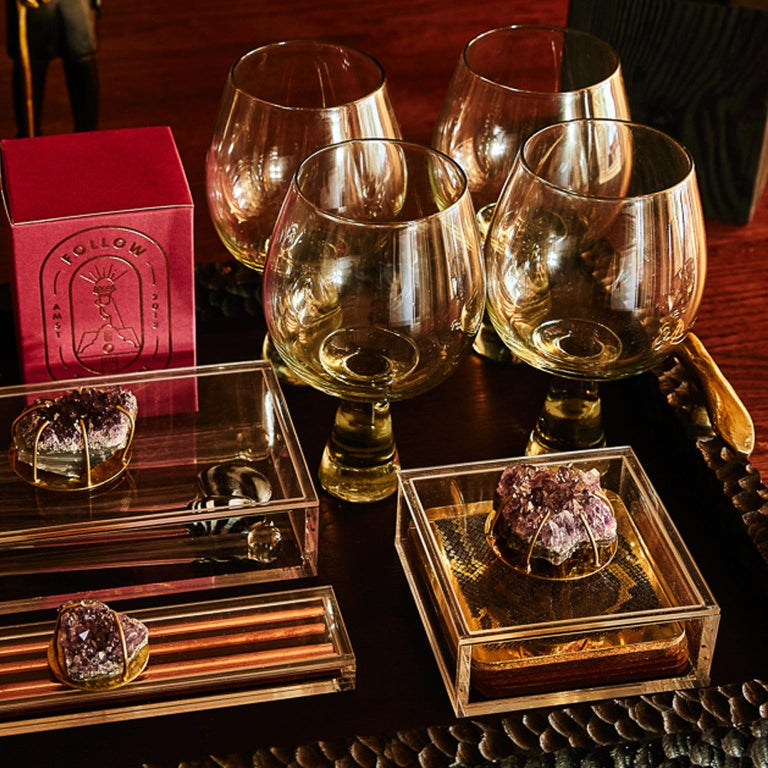 Modern Etched Brass Coaster Bar Set Presented in an Agate Decorated Lucite Box For Sale 10