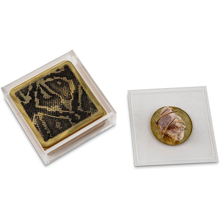 South African Modern Etched Brass Coaster Bar Set Presented in an Agate Decorated Lucite Box For Sale