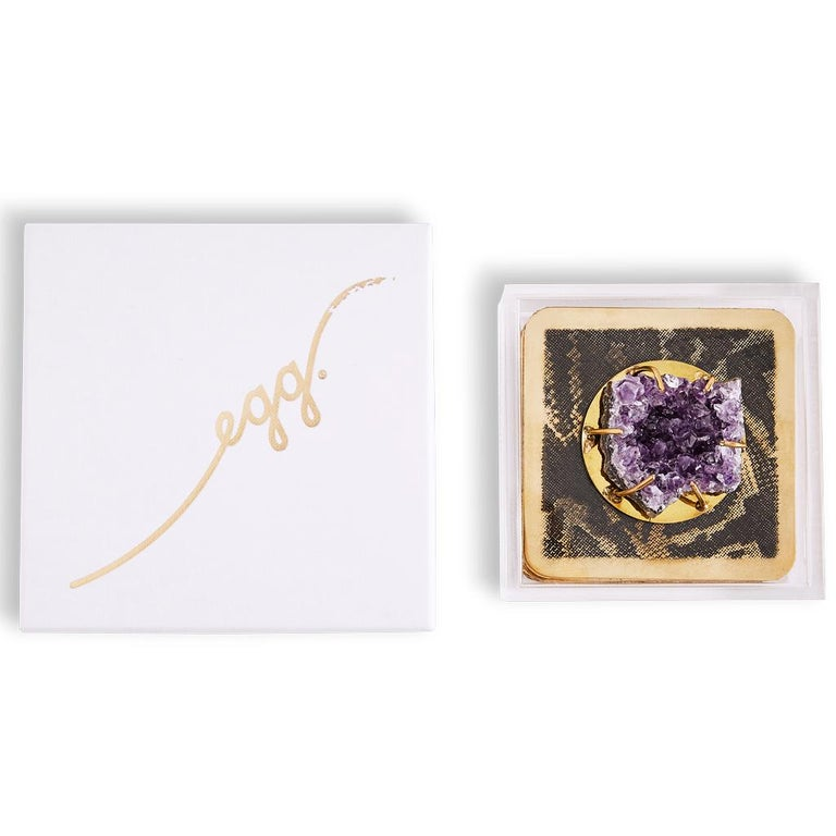 Modern Etched Brass Coaster Bar Set Presented in an Agate Decorated Lucite Box For Sale 3