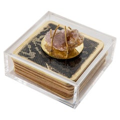 Modern Etched Brass Coaster Bar Set Presented in an Agate Decorated Lucite Box