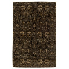 Modern European Inspired Tibetan Black and Gold-Brown Hand Knotted Wool Rug