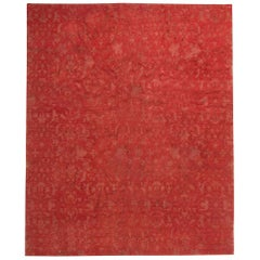 Modern European Inspired Tibetan Red Hand Knotted Wool Rug