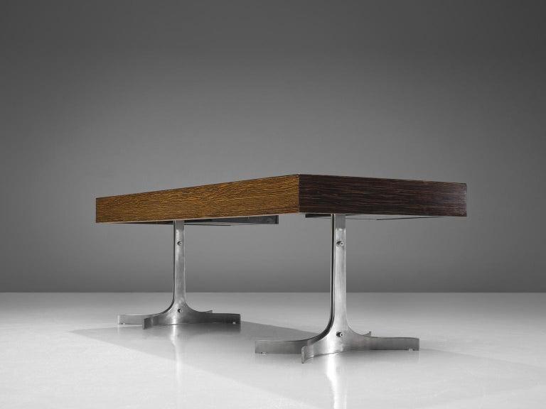 Aluminum Modern Executive Desk in Rosewood