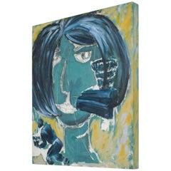 Modern Expressionism Woman Art Acrylic Painting on Wood, Pablo Romo
