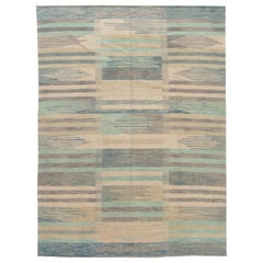 Modern Expressionist Flat-Weave Room Size Wool Rug